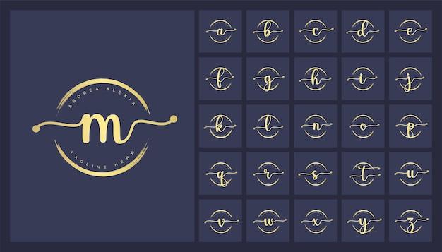 Feminine floral letters logo design template