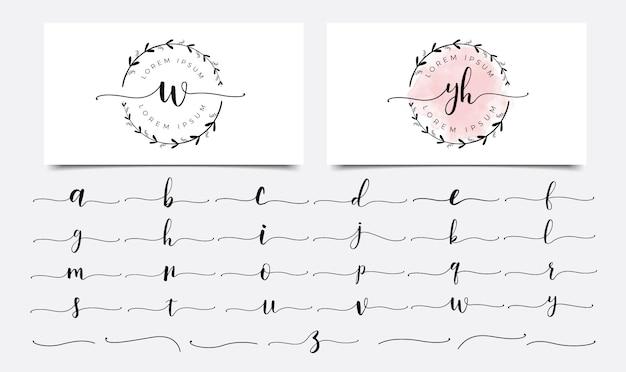 Женские цветочные буквы логотипа дизайн шаблона