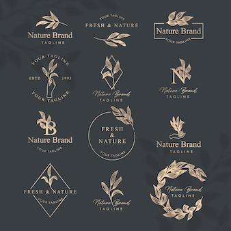 Feminine floral line art logo editable template set