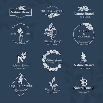 Набор шаблонов для редактирования логотипа feminine floral line art