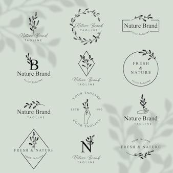 フェミニンフローラルラインアートロゴ編集可能なテンプレートセット