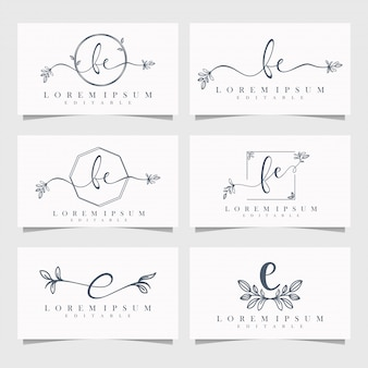 Feminine floral logo editable