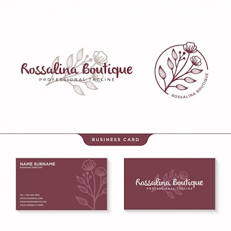 Feminine floral logo, wildflower logotype with business card template