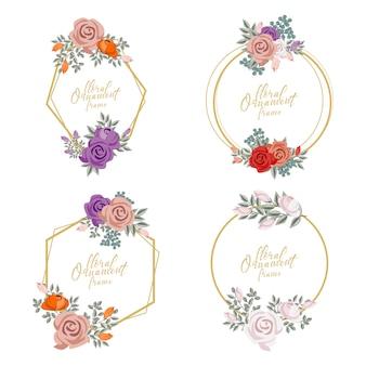 Feminine floral ornament frame illustration