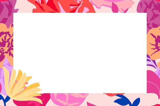 Feminine floral rectangle frame vector with pink roses on white background