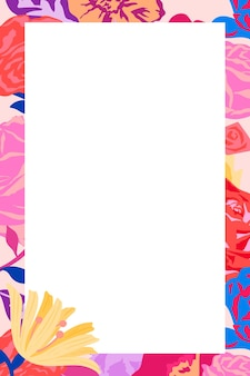 Feminine floral rectangle frame  with pink roses on white background