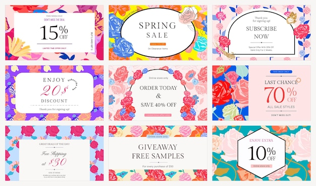 Женский цветочный шаблон продажи с набором баннеров для рекламы моды разноцветных роз