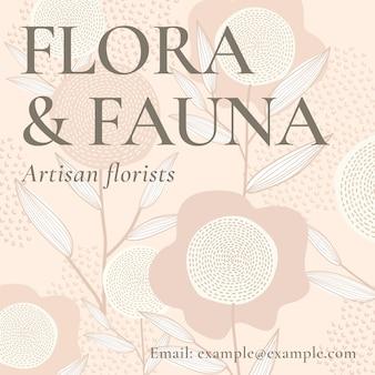 Feminine floral template vector for social media post