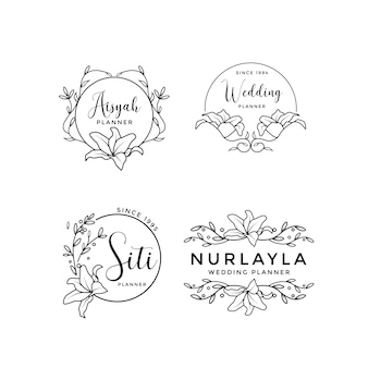 Feminine floral wedding logo collection