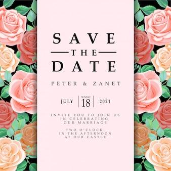 Feminine floral weeding event invitation editable template