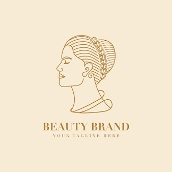 Feminine floral woman face beauty logo with laurel wreath for spa salon skin hair care branding