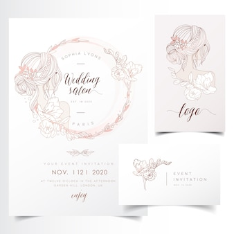 Feminine floral wreath for event invitation template