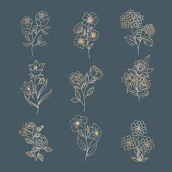 Женский цветок цветочный для логотипа редактируемый шаблон