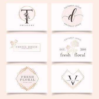 Feminine flower floral letter logo editable template