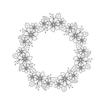 Feminine flower florist wedding line circle frame ornament