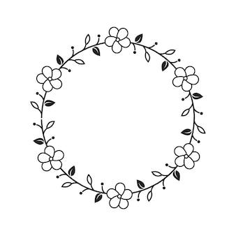 Feminine flower florist wedding line frame ornament
