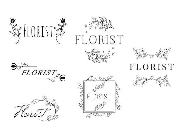 Feminine flower logo templates florist wedding planner