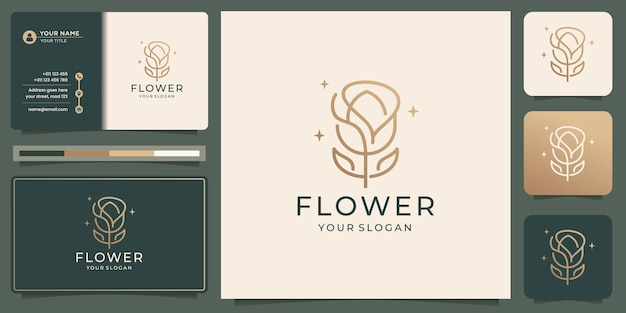 Feminine flower luxury beauty linear style. gold color design with business card inspiration.