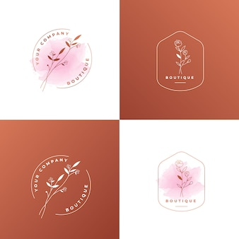Feminine flower rose gold logo template