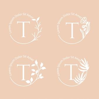 ブランディングのための女性的なフレームの花のロゴ編集可能なテンプレート