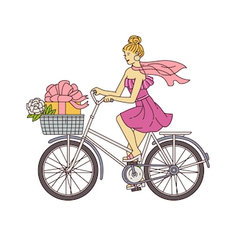Feminine girl in pink dress riding a bicycle with gift box in front basket - elegant cartoon woman sitting on retro bike going to party.