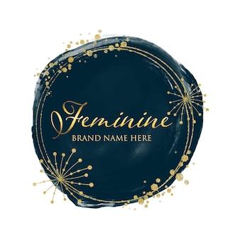 Design del logo in oro femminile in stile acquerello