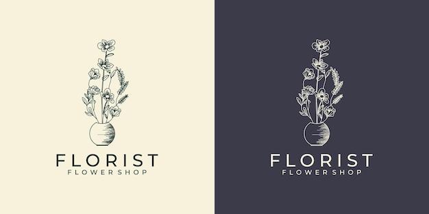 여성의 손으로 그리는 꽃 로고 디자인 라인 아트 스타일
