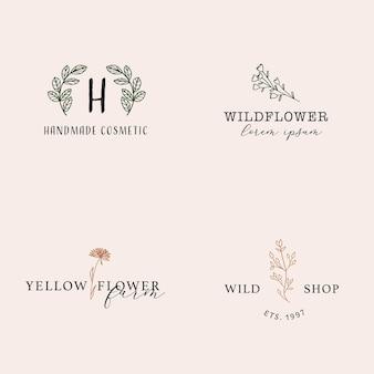 미니멀한 라인 아트 스타일의 여성스러운 손으로 그린 꽃 로고 컬렉션