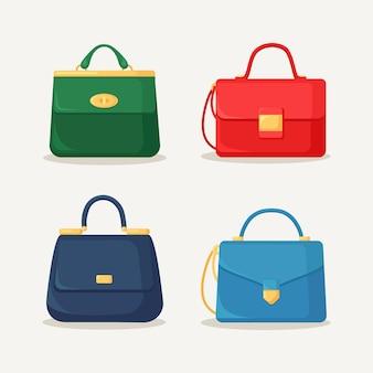 쇼핑, 여행, 휴가를위한 여성 핸드백. 손잡이가 달린 가죽 가방. 여름 여성 액세서리의 아름다운 캐주얼 컬렉션