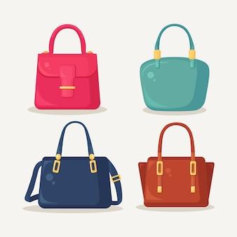 ショッピング、旅行、休暇のためのフェミニンなハンドバッグ。白い背景で隔離のハンドル付きレザーバッグ。夏の女性のアクセサリーの美しいカジュアルコレクション。フラットデザイン