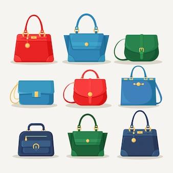 ショッピング、旅行、休暇のためのフェミニンなハンドバッグ。白い背景で隔離のハンドル付きレザーバッグ。夏の女性のアクセサリーの美しいカジュアルコレクション。