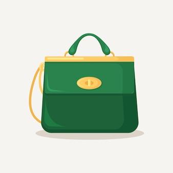 여성스러운 핸드백. 손잡이가 달린 가죽 가방
