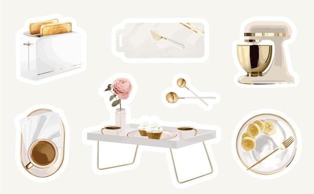 현대적인 주방 도구 세트가 있는 여성용 휘게 스티커 컬렉션