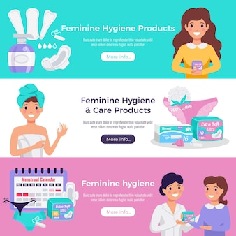 Feminine hygiene and care products 3 flat horizontal website banners with tampons pads medical advice