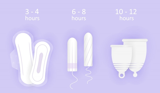 Feminine hygiene composition. wearing time of hygiene products. choice between menstrual cup, tampon and pads.