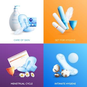 Set di icone di concetto di igiene femminile