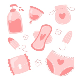 フラットスタイルのフェミニンな衛生アイテムコレクション