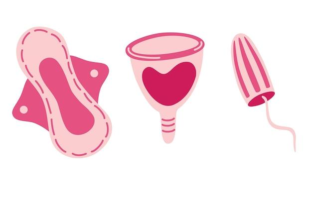 Коллекция предметов женской гигиены. менструальная чаша, женские прокладки и тампоны. женская гигиена. плоские векторные иллюстрации.