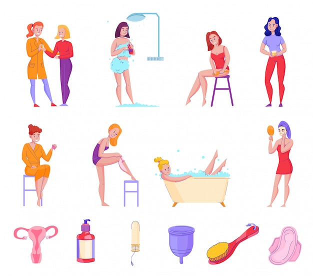 Feminine hygiene personal care products tips flat icons collection with shower fresh towels soap tampons vector illustration