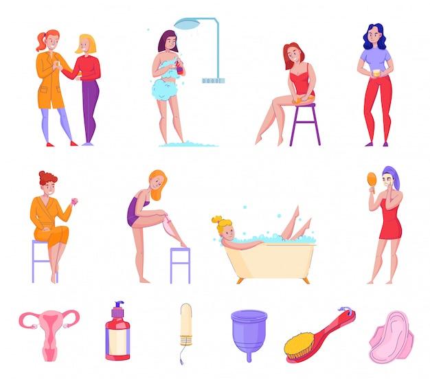La raccolta piana delle icone di punte dei prodotti di cura personale dell'igiene femminile con i tamponi freschi del sapone degli asciugamani della doccia vector l'illustrazione
