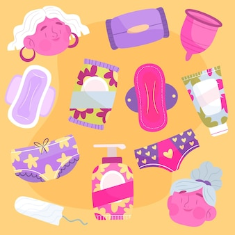 Feminine hygiene products concept