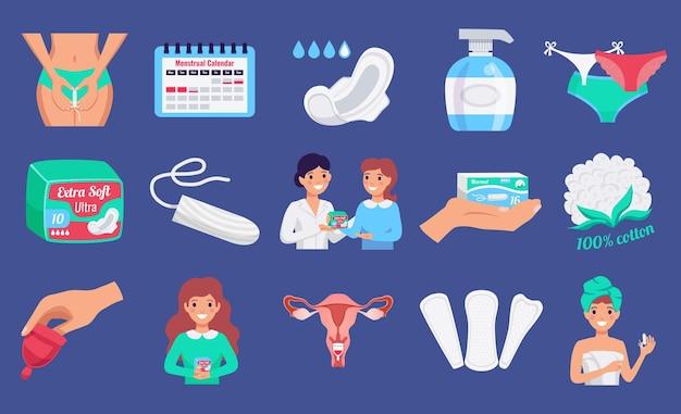 Insieme orizzontale piano dei prodotti di igiene femminile con le fodere di panty delle tazze di lavaggio delle tazze mestruali del tampone isolate