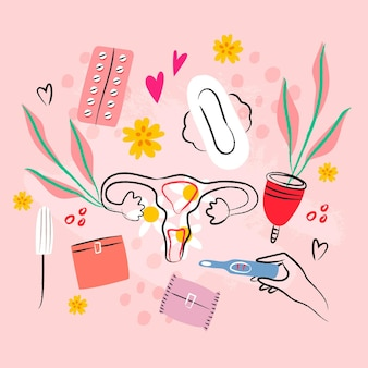 Feminine hygiene products illustrated pack
