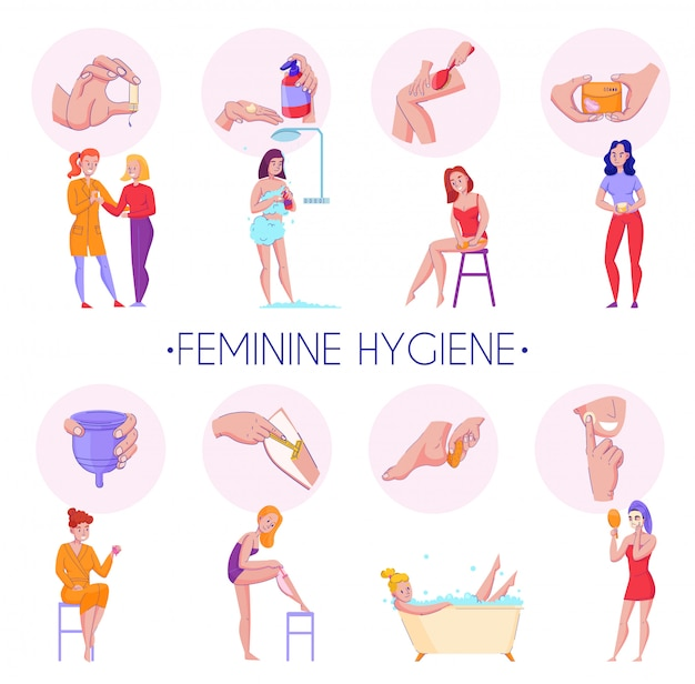 Feminine hygiene products procedures flat informative compositions set with skin massage reproductive organs health care vector illustration