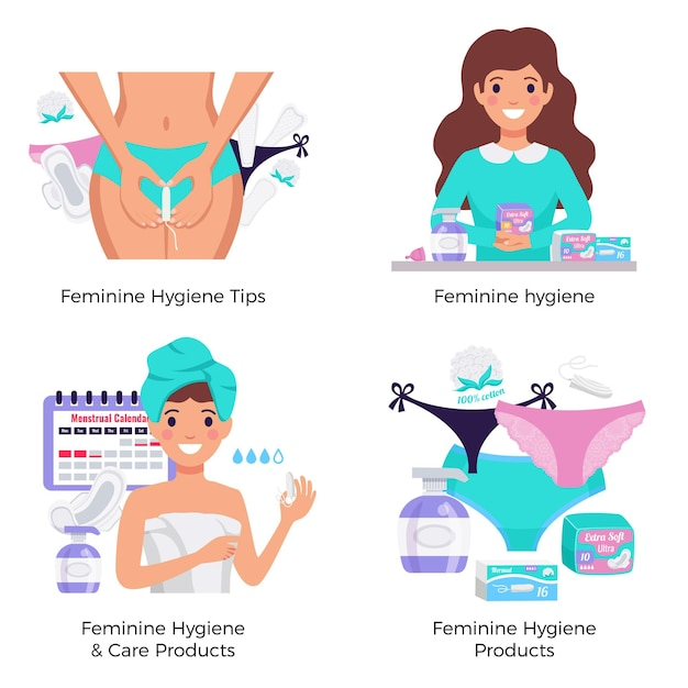 Feminine hygiene products tips 4 flat composition concept with pads tampons panty liners period calendar
