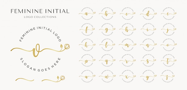 Feminine initial logo collection