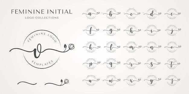 여성스러운 초기 로고 컬렉션.