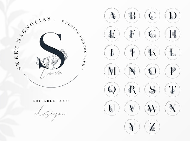 Feminine initial round logo  template with floral letters