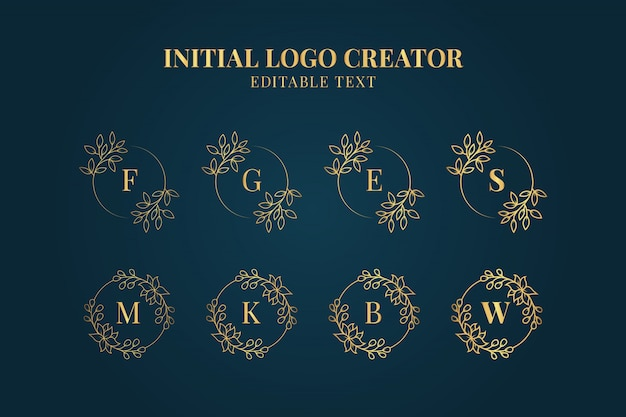Feminine initials logo creator collection, set of ornamental floral initial logos