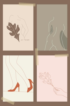 Feminine line art collection